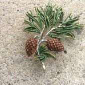 The Larch Tree with Pine Cones &  Needles  Pin 1960s signed Exquisite Brooch - (SOLD)